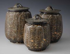 Set of Three Porcelain Jars Dark Brown and by TheCeramicsGallery