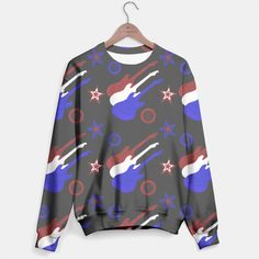 Star Spangled Guitars Pattern Sweater 2, Live Heroes