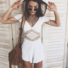 Looove this playsuit sooo much crochet is everywhere on so many pieces of clothing. this is great for summer days and would look stunning over a swimsuit ready to go to the pool xx