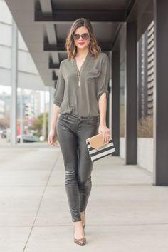 Leather Leggings   Olive Green Tunic   Lady Like Accessories   Striped Clutch   Leopard Print Heels   www.stylemissmolly.com
