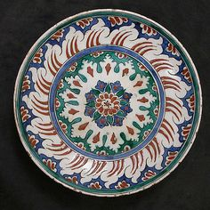Dish   Iznik, Turkey, last quarter 16th century   Stonepaste; painted and glazed   The Metropolitan Museum of Art, New York