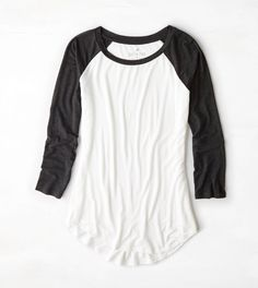 Natural White AEO Colorblocked Baseball T-Shirt  -- I like the baseball tee look. Also the crew neck.