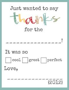 Thank you notes ~ free download