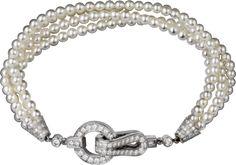 Agrafe bracelet White gold, diamonds, pearls