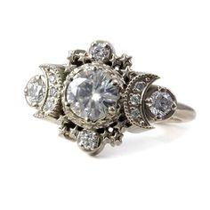 Diamond Moon Ring Cosmos Boho Engagement - Moissanite or Diamonds Custom Wedding Ring - Clothes make me. I - Ringe Rose Gold Diamond Ring, Diamond Wedding Rings, Round Cut Diamond, Silver Ring, Silver Jewelry, Jewelry Box, Ring Ring, Art Nouveau, Moon And Star Ring