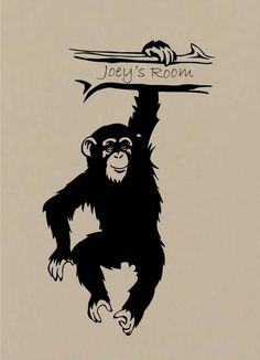 Vinyl Wall Decal Personalized Monkey Chimp by ChuckEByrdWallDecals, $22.50