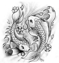 "Koi fish are the domesticated variety of common carp. Actually, the word ""koi"" comes from the Japanese word that means ""carp"". Outdoor koi ponds are relaxing. Koi Fish Drawing, Fish Drawings, Colorful Drawings, Tattoo Drawings, Pencil Drawings, Coy Fish Tattoos, Cute Tattoos, Body Art Tattoos, Sleeve Tattoos"