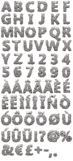 Alphabet by the 3D rock and stone font. Characters set of the stone font.