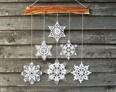 Christmas decoration snowflakes mobile elegant от Woodstorming
