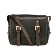 045036697c A flapover cross body bag in butter soft leather trimmed with thick  chocolate bridle leather