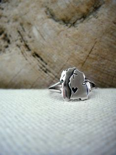 Sterling Silver Michigan and Lake Michigan Ring by sprout1world, $58.00