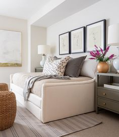 """""""The role of a designer is that of a very good, thoughtful host anticipating the needs of his guests. Small Space Bedroom, Small Rooms, Small Spaces, Queen Size Day Bed, Home Bedroom, Bedroom Decor, Bedroom Ideas, Bed Ideas, Bedroom Office Combo"""
