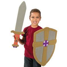 Shield With Cross & Sword Set - OrientalTrading.com make with poster board, cardboard, foam??