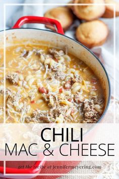 Two delicious recipes come together in this chili mac Top Recipes, Quick Recipes, Fall Recipes, Delicious Recipes, Sweet Recipes, Cooking Recipes, Chili Mac And Cheese, Mac Cheese, Easy Weeknight Meals