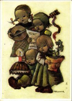 Artist Postcard Hummel, Glückwunsch, Kinder, Kuchen, Kleeblätter, Gesang
