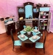 OOAK Barbie Kitchen 1 6 Scale Furniture Table Food Accessories Light Up Oven   eBay
