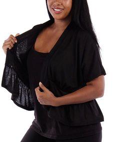 Look at this #zulilyfind! Black Ruffle Short-Sleeve Open Cardigan - Plus #zulilyfinds