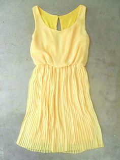 Sweet Pleated Daffodil Dress [2780] - $44.00