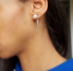 diy spike pearl earring