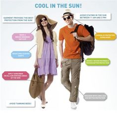 Wearing a hat, sunscreen, long sleeve shirt and long pants while in the sun it will lower the risks of getting skin cancer