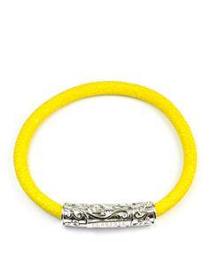 Men's Yellow Stingray Bracelet with Silver Lock Sterling Silver, Yellow, Bracelets, Leather, Jewelry, Jewlery, Jewerly, Schmuck, Jewels