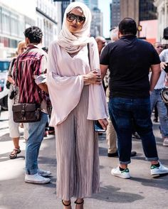 Hijab Fashion   Nuriyah O. Martinez   (@simplyjaserah) Metallic culottes and Flare sleeves in The City