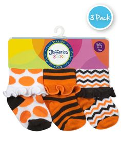 73da940346f A three pair pack of Halloween socks trimmed with a ruffle cuff. In this  three pair pack