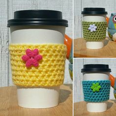 ****New Springtime Cup Sleeves**** at Rust&Teal!  Available in basketweave or floral button style :)