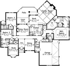 Style House Plans - 3091 Square Foot Home , 1 Story, 4 Bedroom and 3 Bath, 3 Garage Stalls by Monster House Plans - Plan 3-142