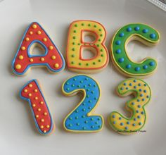ABC and 123 Cookies - Alphabet Decorated Cookies - Letters Cookie Favors - Numbers Cookie Favors - Numbers Decorated Cookies  - Favors - 1 Dozen. $26.99, via Etsy.