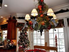 Gorgeous kitchen chandelier and tree