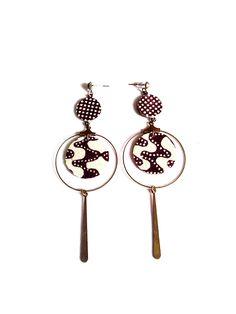 Boucles d'oreilles graphiques inspiration ethnique -  bijou de créateur de la boutique lesfilsdestemps sur Etsy