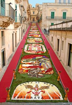 Noto Flower festival, Sicily all of these pictures are made by tiny seeds and flower petals! Amazing