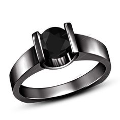 1.35 Carat Round Cut Black Diamond 925 Silver Women's Solitaire Engagement Ring #aonedesigns