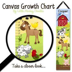 Canvas GROWTH CHART  Farm Animals Cow Horse Sheep by ToadAndLily, $40.00