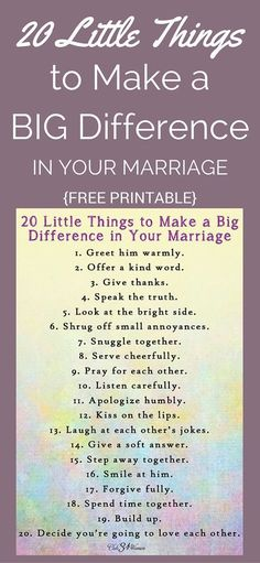 FREE Printable!  20 Little Things to Make A Big Difference In Your Marriage ~ Club31Women