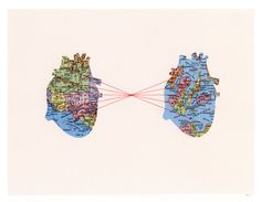 Artist: Selflesh (etsy) Title: 'Two Hearts' ~ Medium: Map collage, ink, custom embroidery ~ Size: x ~ This piece was chosen for the artist's use of line to direct the viewer's eye from one heart to another, and more specifically from one city to another. Map Collage, Heart Map, Heart Print, Heart Anatomy, Wedding Collage, Fine Art Prints, Framed Prints, Book Design Layout, Vintage Maps
