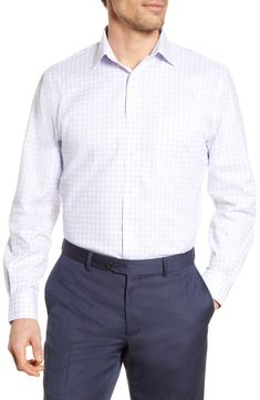 Men's Nordstrom Men's Shop Traditional Fit Non-Iron Check Dress Shirt, Size 15.5 - 32/33 - Purple