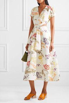 Rosie Assoulin - Swept Away Cutout Floral-print Cotton-blend Faille Midi Dress - Cream