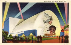 1939 NEW YORK WORLD'S FAIR - MUSIC HALL - The auditorium has 2,500 seats and is egg-shaped, without balconies or interior columns, thus affording perfect sight lines and acoustics. A dominant feature is a box-like stage house, rising to a height of 80 feet. The Music Hall is of modern desing, of fireproof construction, air-conditioned and equipped with latest stage mechanisms and appliances. (Curt Teich 3W - 9A-H302)
