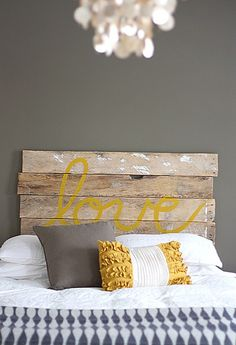 Would make a great sign at the wedding, and headboard later :) Love the color scheme.