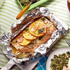 Grilled Salmon with Mint Tzatziki -- the foil packet makes cleanup a breeze!