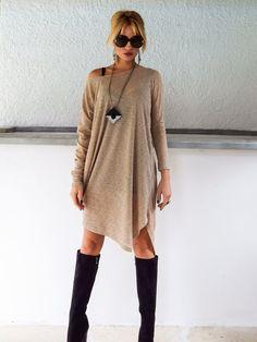 Beige Knitted Semi-Transparent Long Sleeve Dress - Blouse - Tunic / Plus Size Dress / Asymmetric Plus Size Tunic / Oversize Dress / #35053