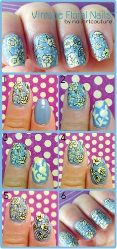 Nail Art Couture: Vintage Floral Nail Art