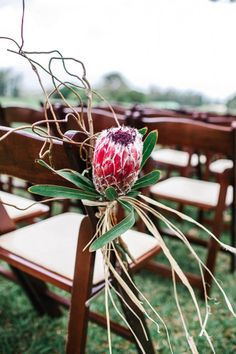 Proteas tied to ceremonial chairs Mary Claire Photography Beach Wedding Favors, Wedding Ceremony Decorations, Hawaii Wedding, Flower Decorations, Wedding Souvenir, Wedding Ideas, Wedding Ceremonies, Wedding Themes, Wedding Inspiration