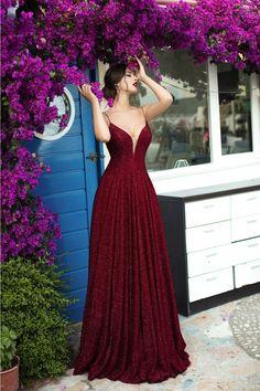 Tarik Ediz - 93690 Illusion Plunging Backless Sparkly Ballgown in 2020 Pretty Prom Dresses, Grad Dresses, Ball Dresses, Elegant Dresses, Cute Dresses, Beautiful Dresses, Ball Gowns, Bridesmaid Dresses, Formal Dresses
