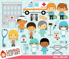 Community helpers doctors nurses paramedics hospital clip art set. Includes blacklines! $