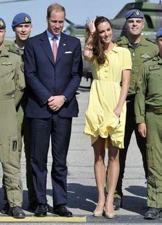 William & Kate - Jenny Packham Yellow Dress - Calgary Airport Tour of Canada - 7 July 2011