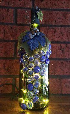 Blue and Green Upcycled Wine Bottle Light, Night Light, Bottle Lamp, Grapes Design, Wine Decor(Bottle Lights) Liquor Bottle Lights, Glass Liquor Bottles, Wine Bottle Glasses, Glass Bottle Crafts, Wine Bottle Art, Painted Wine Bottles, Lighted Wine Bottles, Diy Bottle, Wine Craft