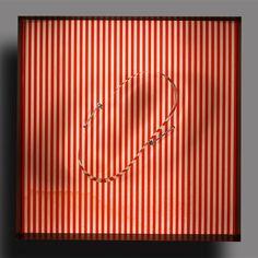 Ludión - Julio Le Parc - Círculo en contorsión sobre trama roja, 1968